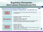 regulatory documents most common deficiencies per fda