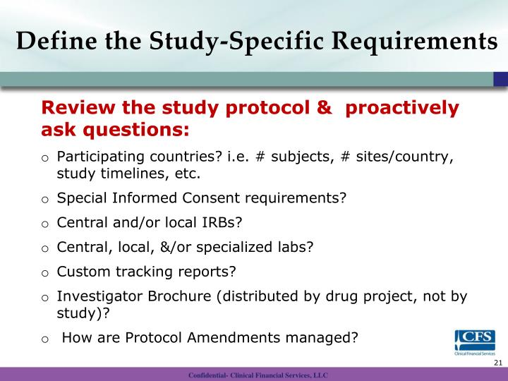 Define the Study-Specific Requirements