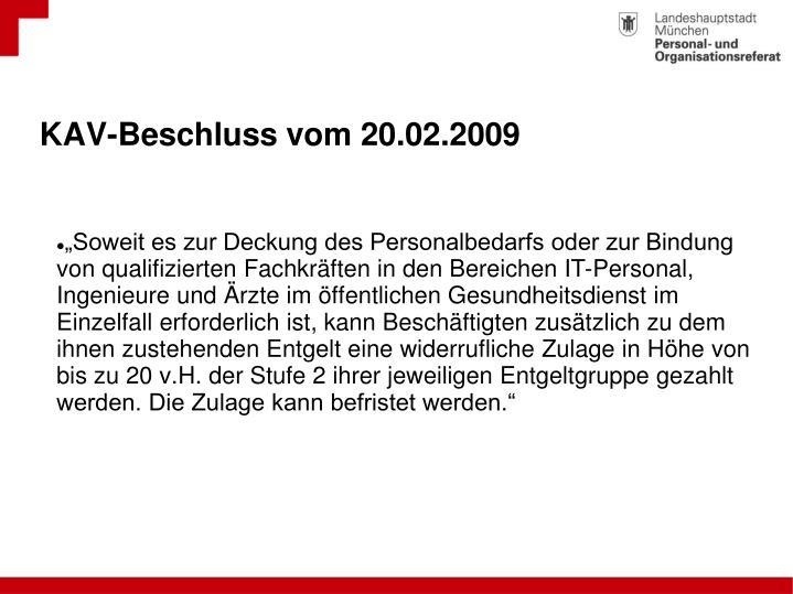 KAV-Beschluss vom 20.02.2009