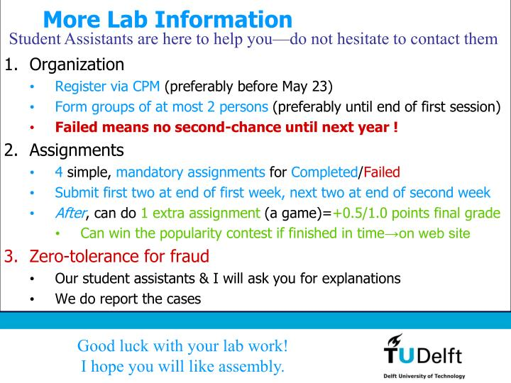 More Lab Information