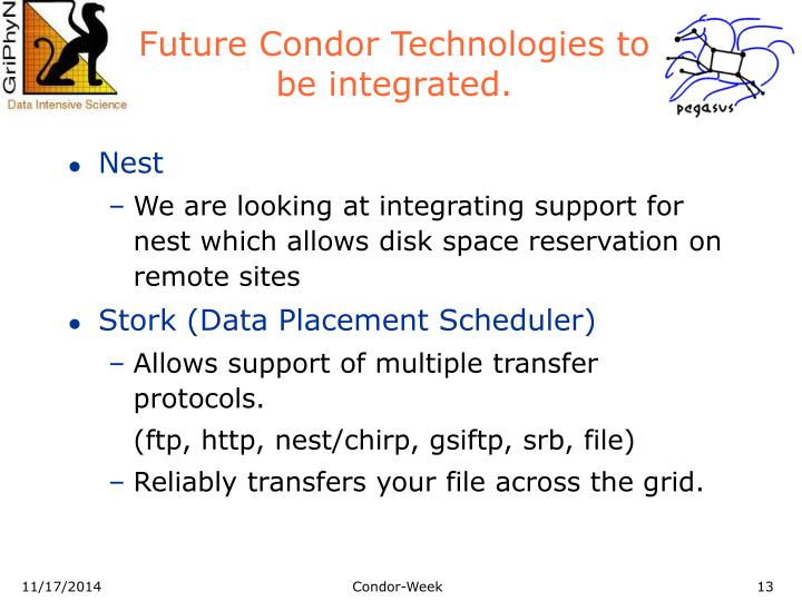Future Condor Technologies to be integrated.