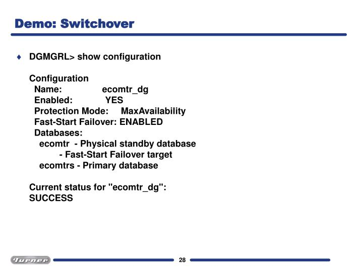 Demo: Switchover