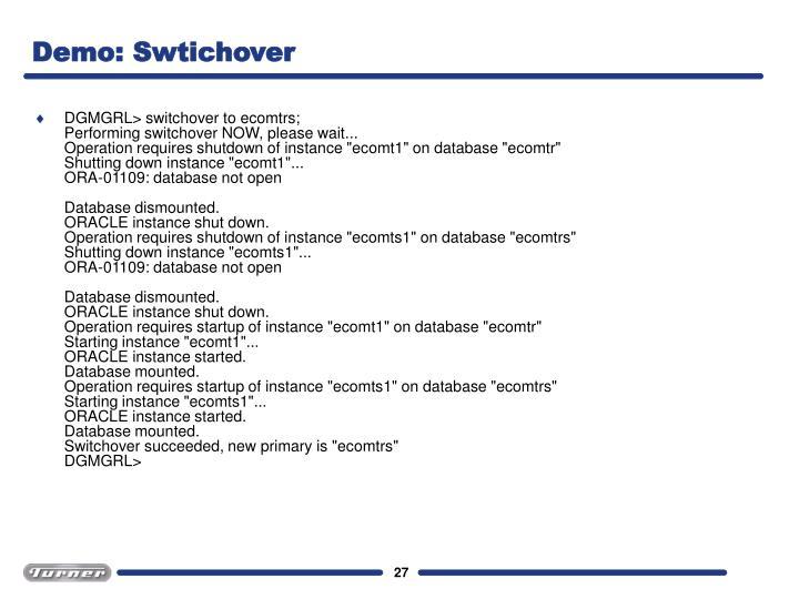 Demo: Swtichover