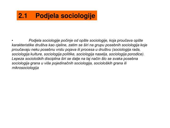 2.1Podjela sociologije