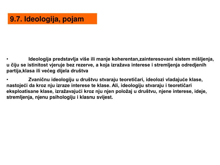 9.7. Ideologija, pojam