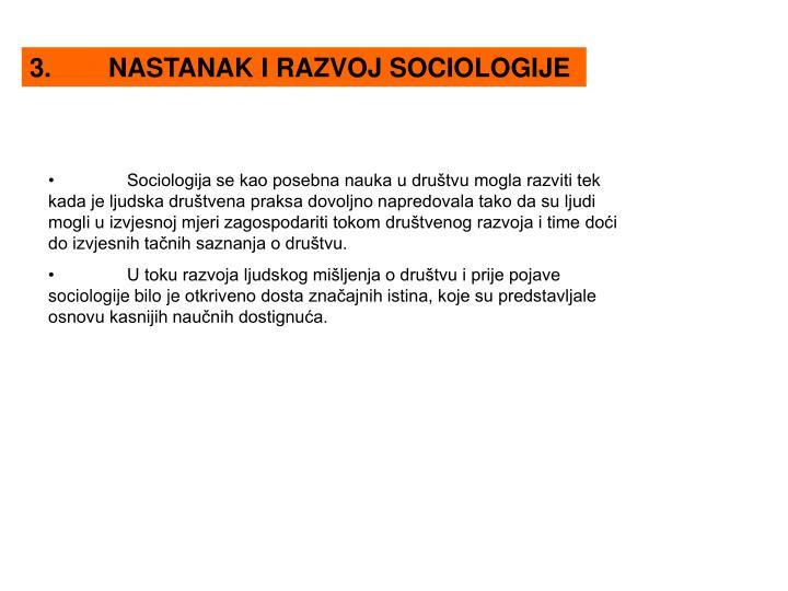 3.NASTANAK I RAZVOJ SOCIOLOGIJE