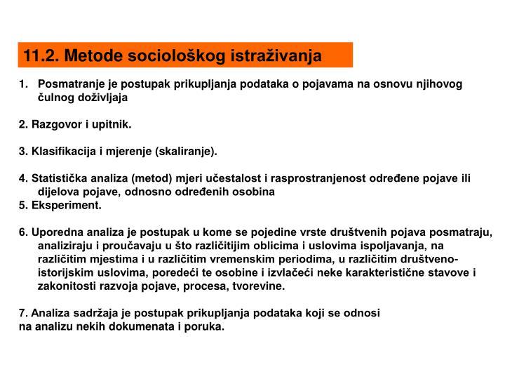 11.2. Metode sociološkog istraživanja