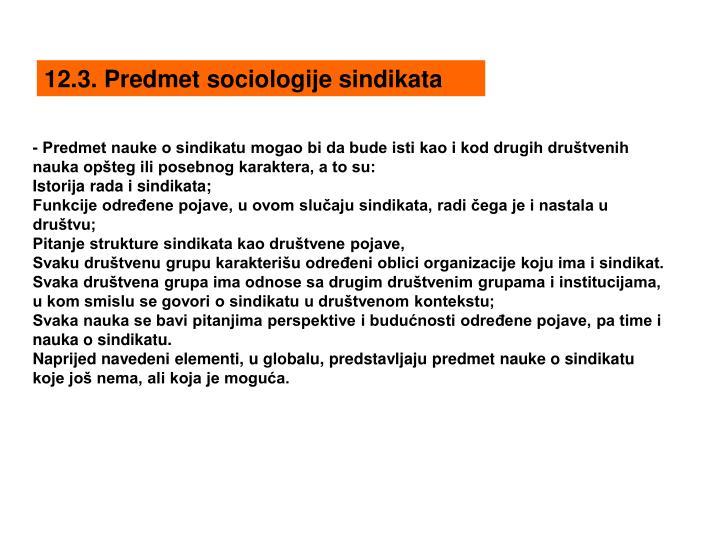 12.3. Predmet sociologije sindikata