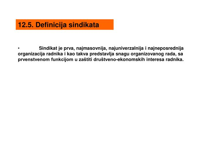 12.5. Definicija sindikata