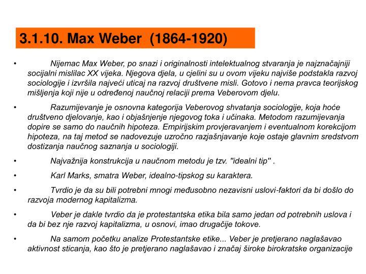 3.1.10. Max Weber  (1864-1920)