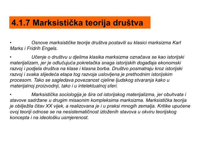 4.1.7 Marksistička teorija društva