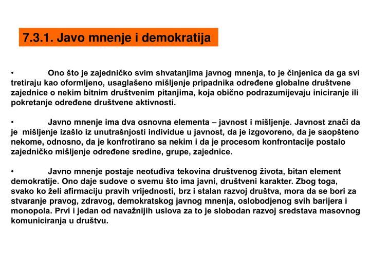 7.3.1. Javo mnenje i demokratija