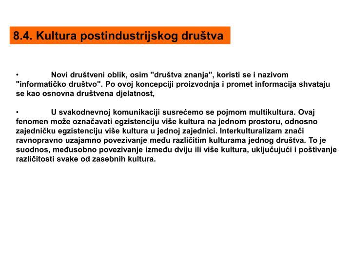 8.4. Kultura postindustrijskog društva
