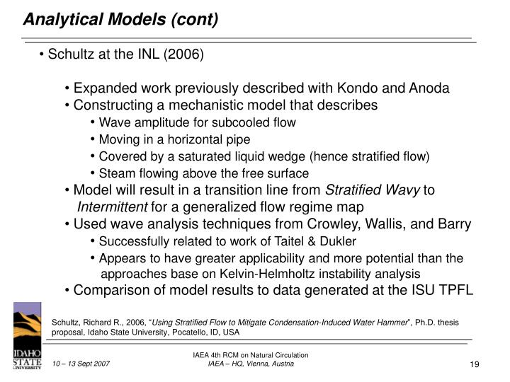 Analytical Models (cont)
