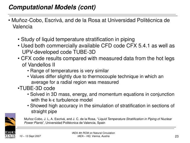 Computational Models (cont)