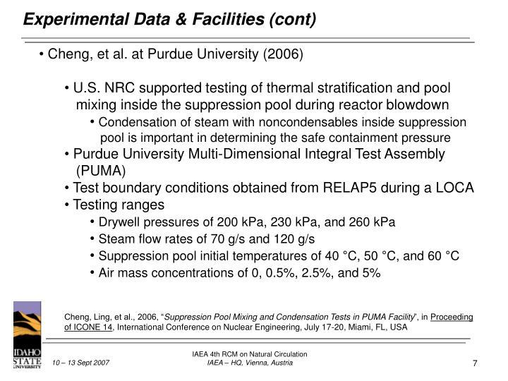 Experimental Data & Facilities (cont)
