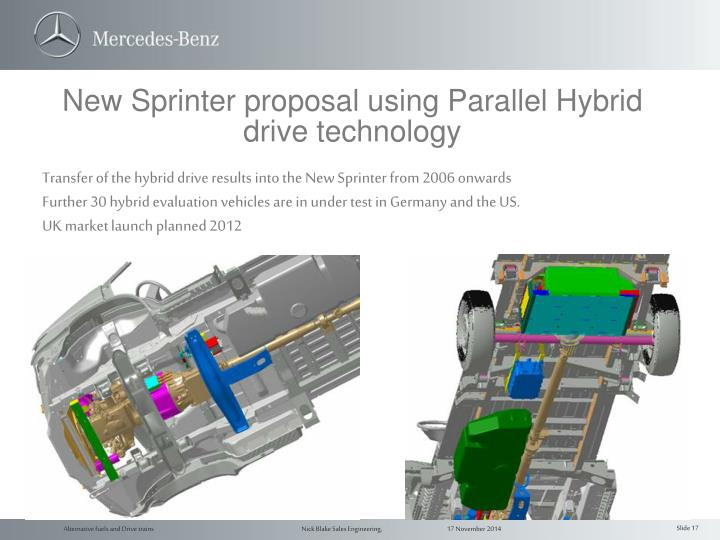 New Sprinter proposal using Parallel Hybrid drive technology