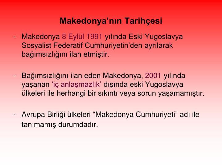 Makedonya'nın Tarihçesi