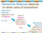 demand for reserves depends on dollar value of transactions