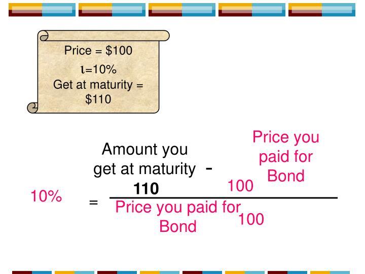Price = $100