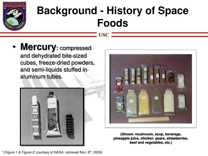 Background history of space foods