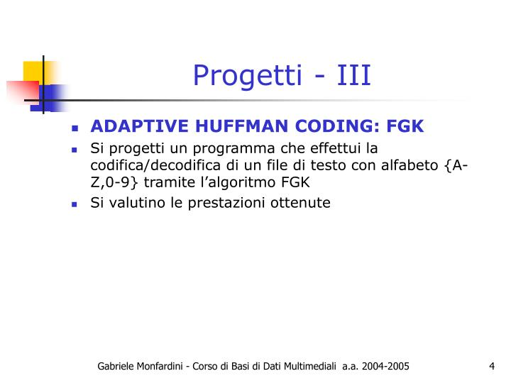 Progetti - III