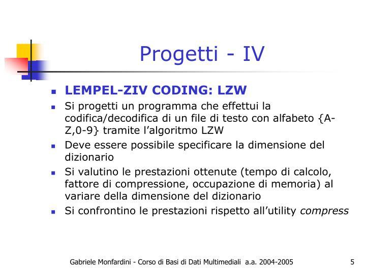 Progetti - IV