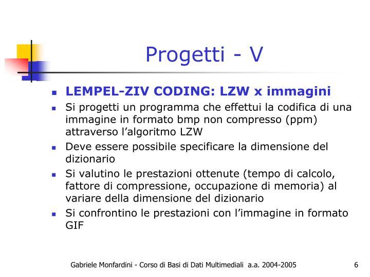 Progetti - V