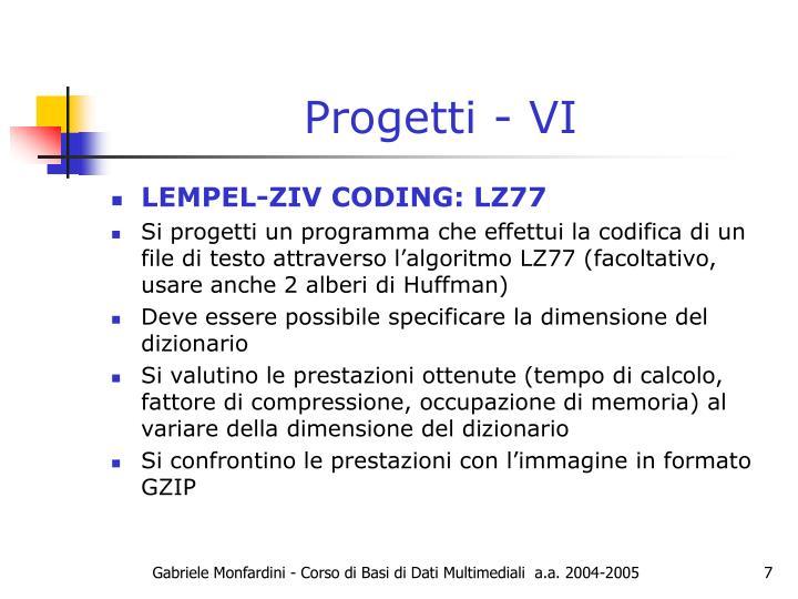 Progetti - VI