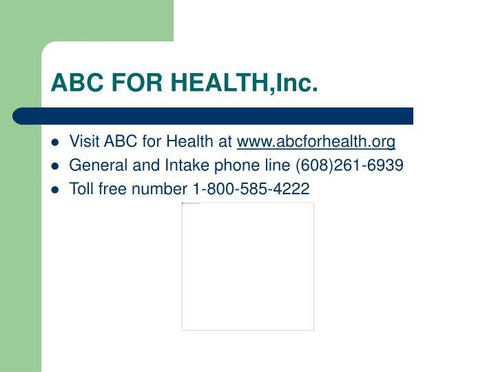ABC FOR HEALTH,Inc.