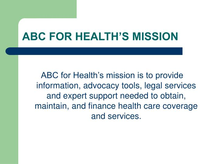 ABC FOR HEALTH'S MISSION