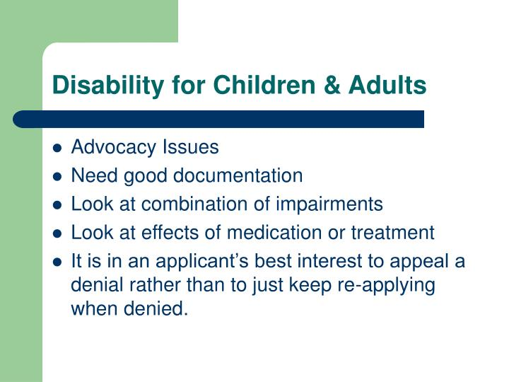 Disability for Children & Adults