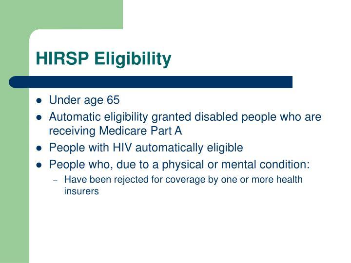 HIRSP Eligibility