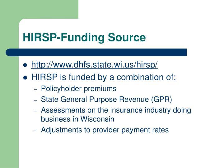 HIRSP-Funding Source