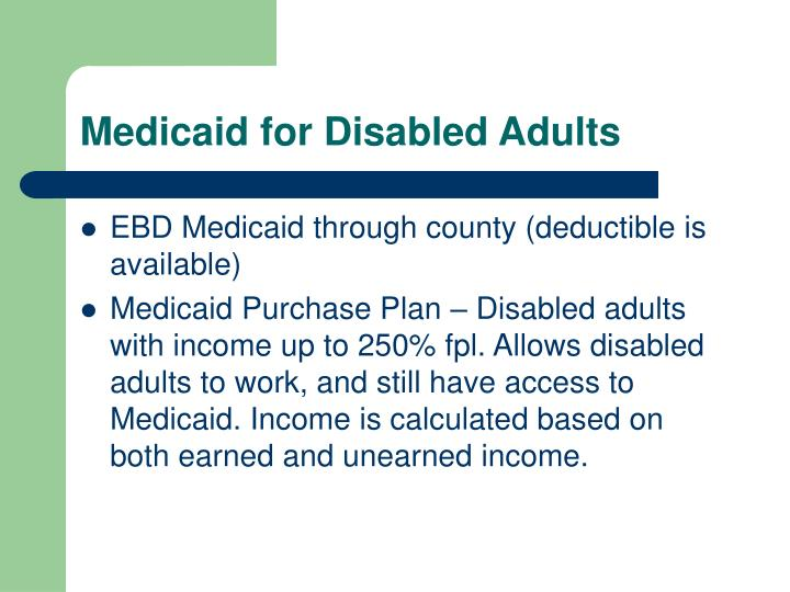 Medicaid for Disabled Adults