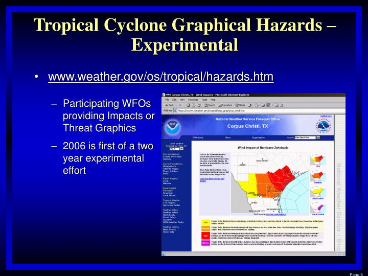 Tropical Cyclone Graphical Hazards – Experimental