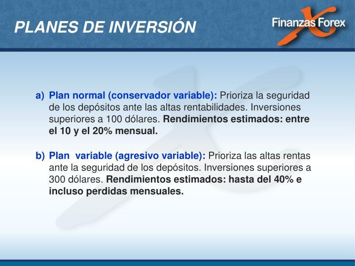PLANES DE INVERSIÓN