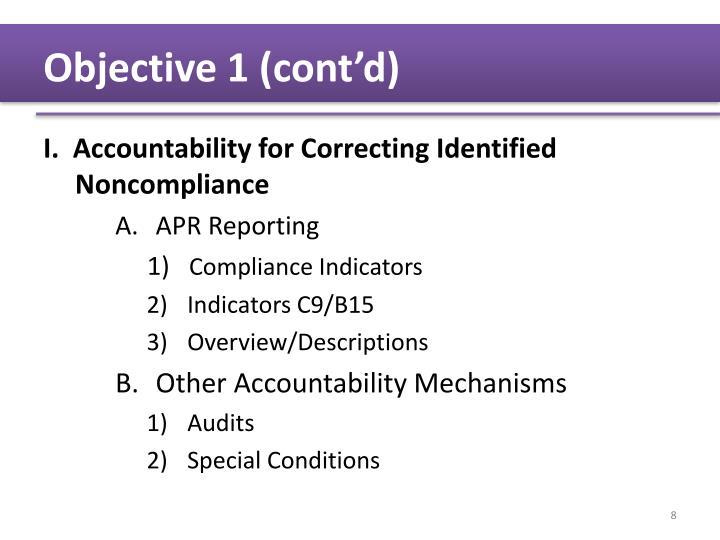 Objective 1 (cont'd)