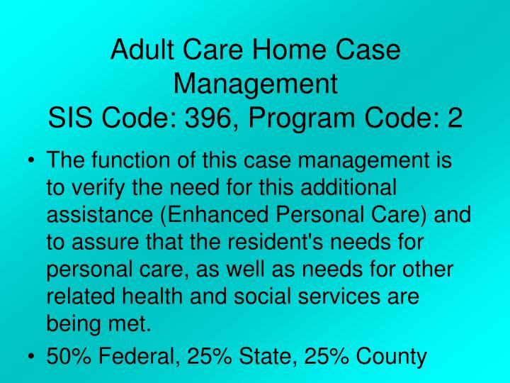 Adult Care Home Case Management