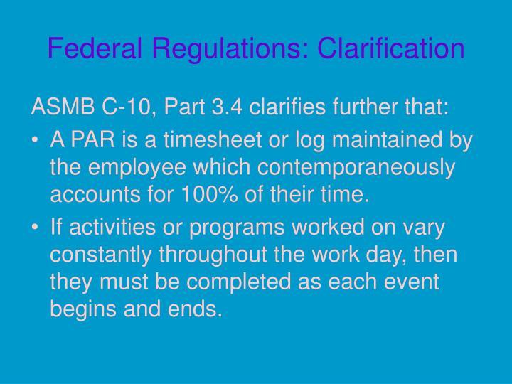Federal Regulations: Clarification