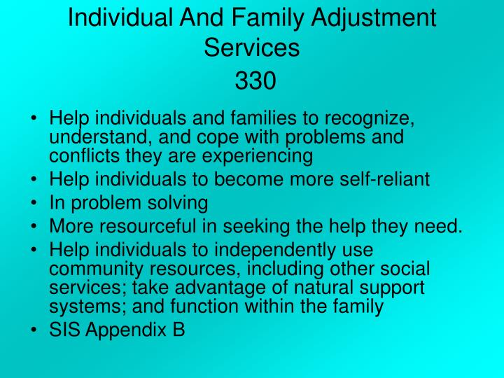 Individual And Family Adjustment Services