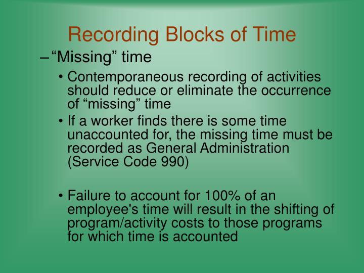 Recording Blocks of Time