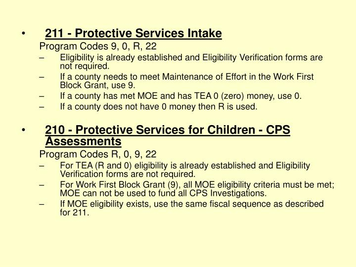 211 - Protective Services Intake