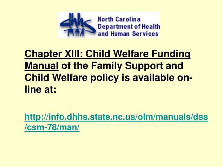 Chapter XIII: Child Welfare Funding Manual