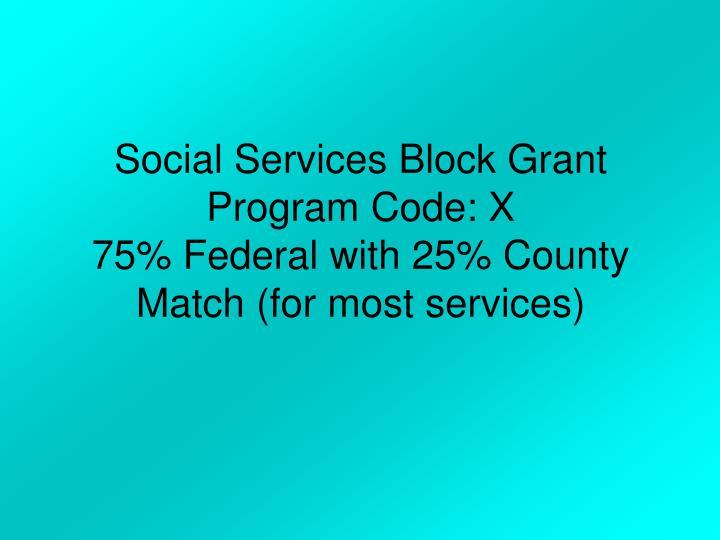 Social Services Block Grant