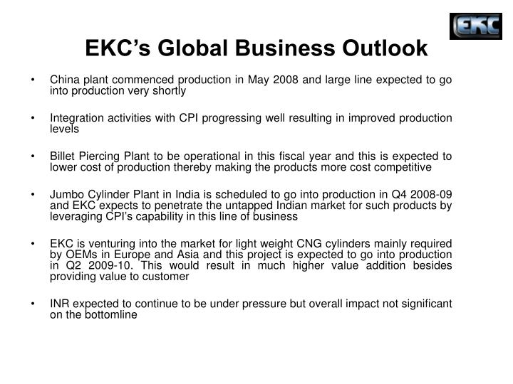 EKC's Global Business Outlook
