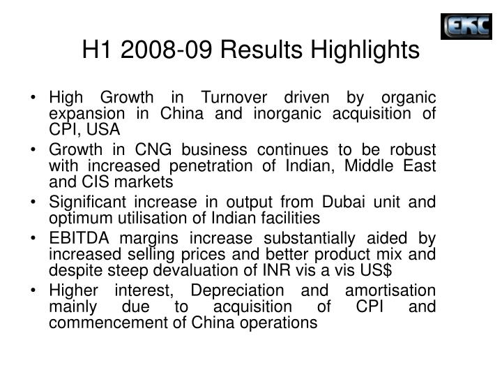 H1 2008-09 Results Highlights