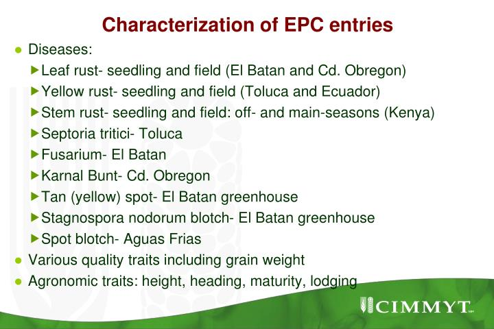 Characterization of EPC entries