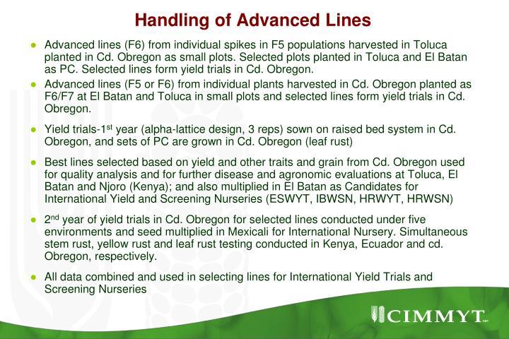 Handling of Advanced Lines