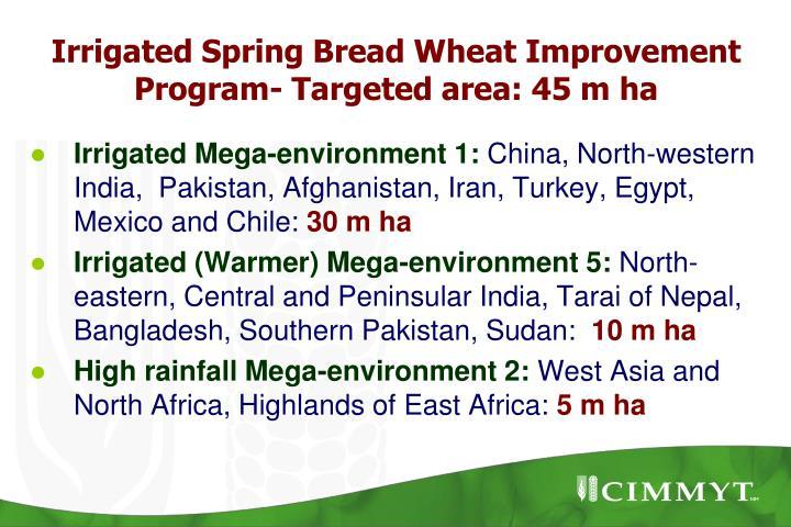 Irrigated Spring Bread Wheat Improvement Program- Targeted area: 45 m ha